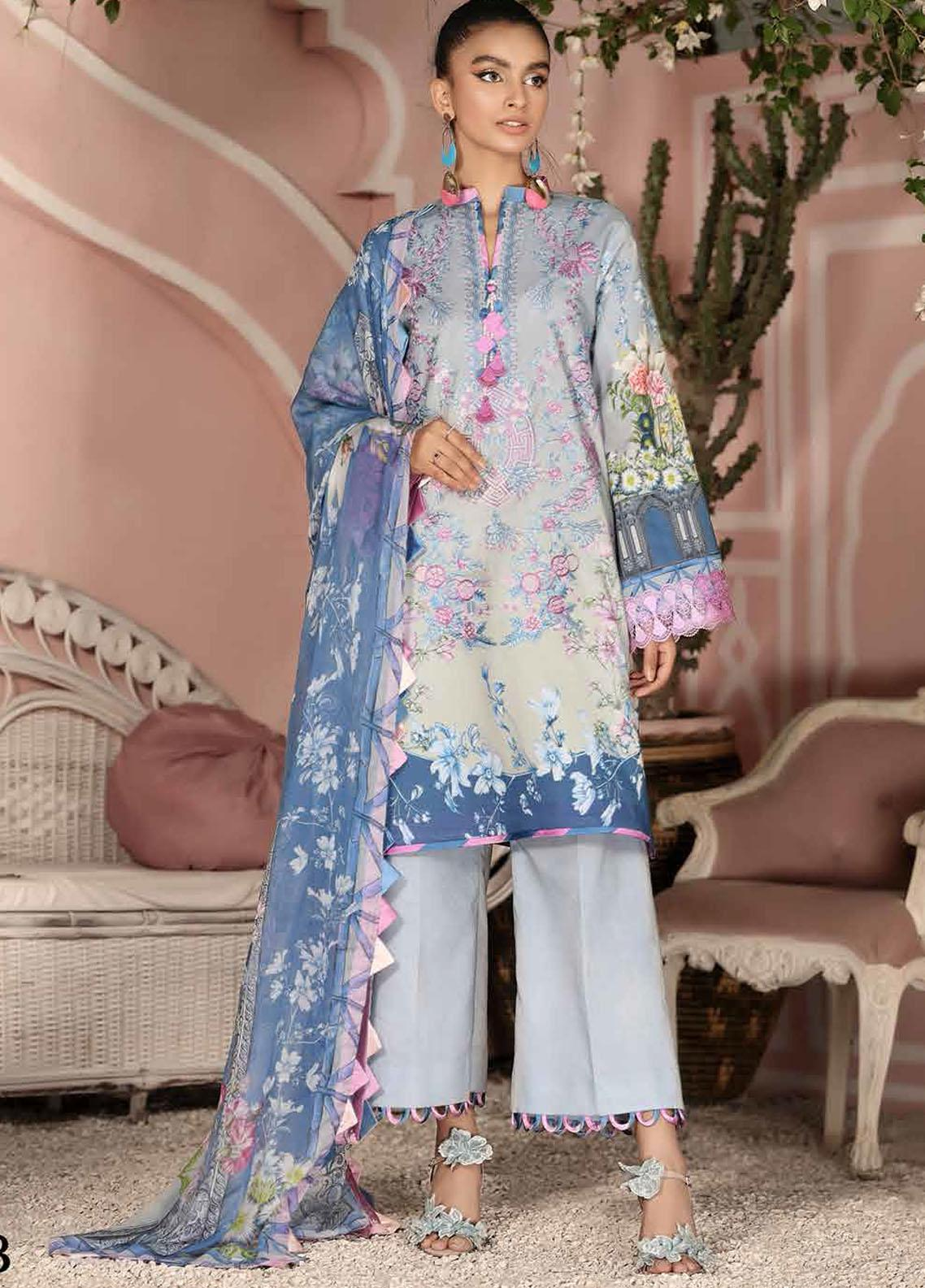Roheenaz Embroidered Lawn Suits Unstitched 3 Piece RO21S 4B - Summer Collection