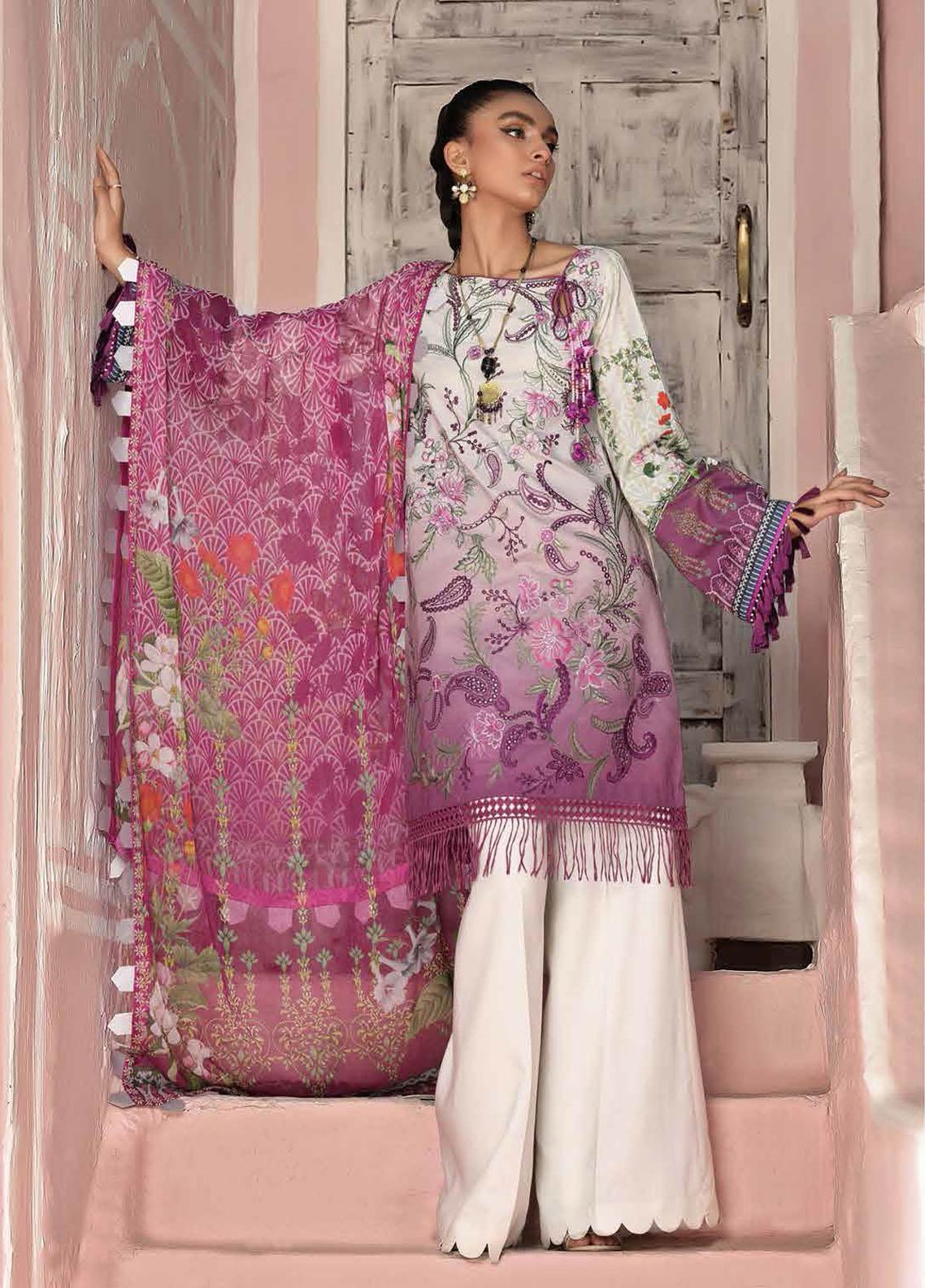 Roheenaz Embroidered Lawn Suits Unstitched 3 Piece RO21S 6B - Summer Collection
