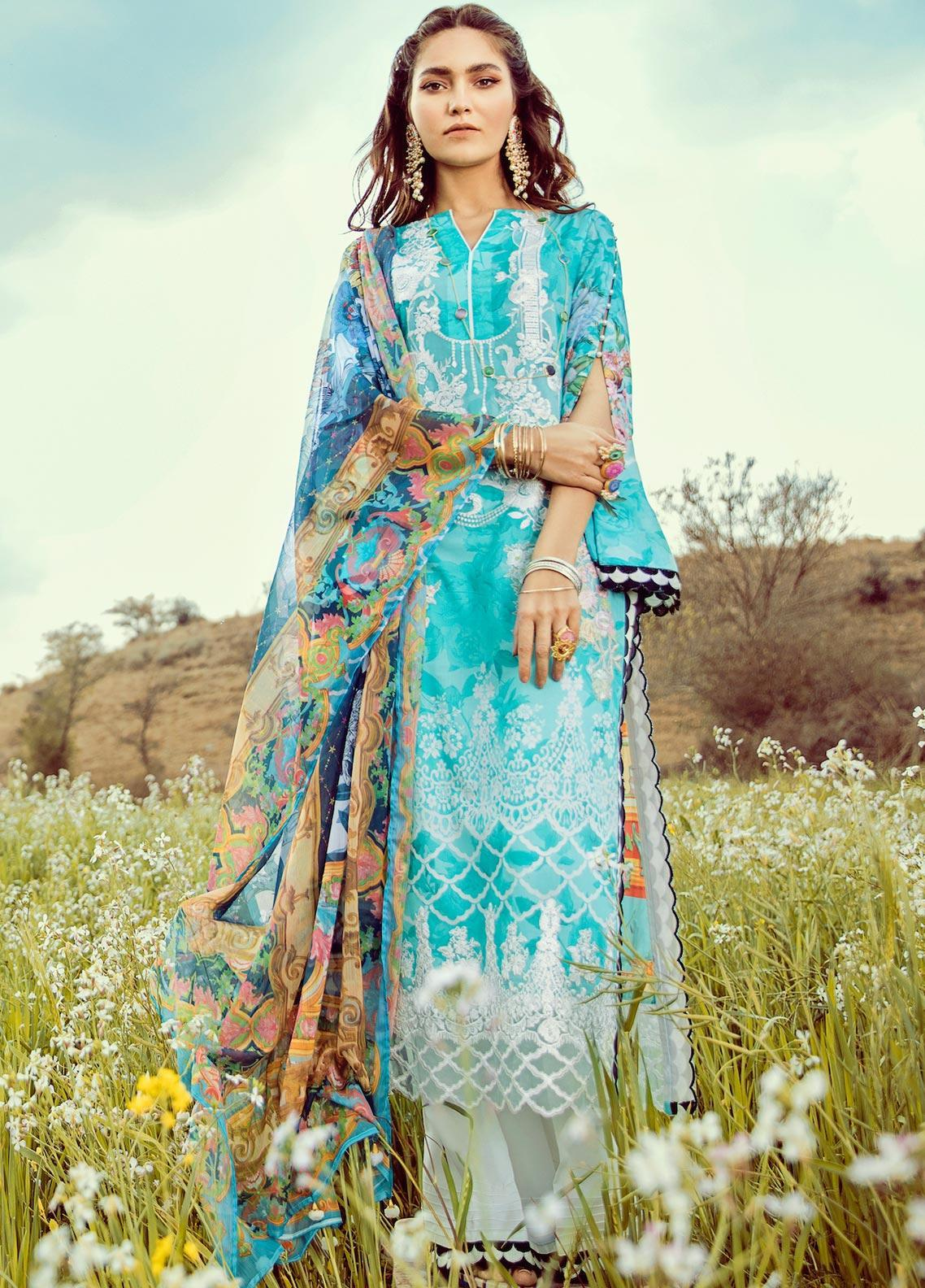 Rouche Embroidered Lawn Unstitched 3 Piece Suit RCH20S Clear Skies 06 - Luxury Collection