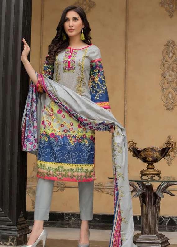 ZS Textile Printed Lawn Unstitched 3 Piece Suit RZS18L1 10A - Summer/Spring Collection