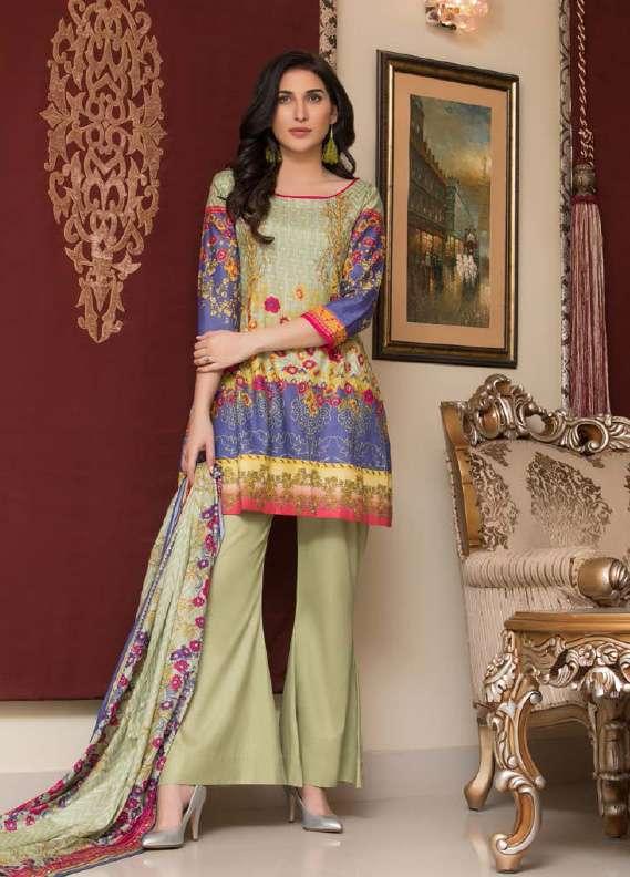 ZS Textile Printed Lawn Unstitched 3 Piece Suit RZS18L1 10B - Summer/Spring Collection