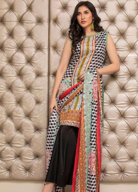 ZS Textile Printed Lawn Unstitched 3 Piece Suit RZS18L1 12A - Summer/Spring Collection