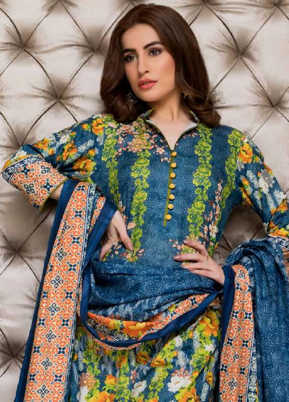 ZS Textile Printed Lawn Unstitched 3 Piece Suit RZS18L1 16B - Summer/Spring Collection