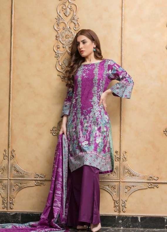 ZS Textile Printed Lawn Unstitched 3 Piece Suit RZS18L1 16A - Summer/Spring Collection
