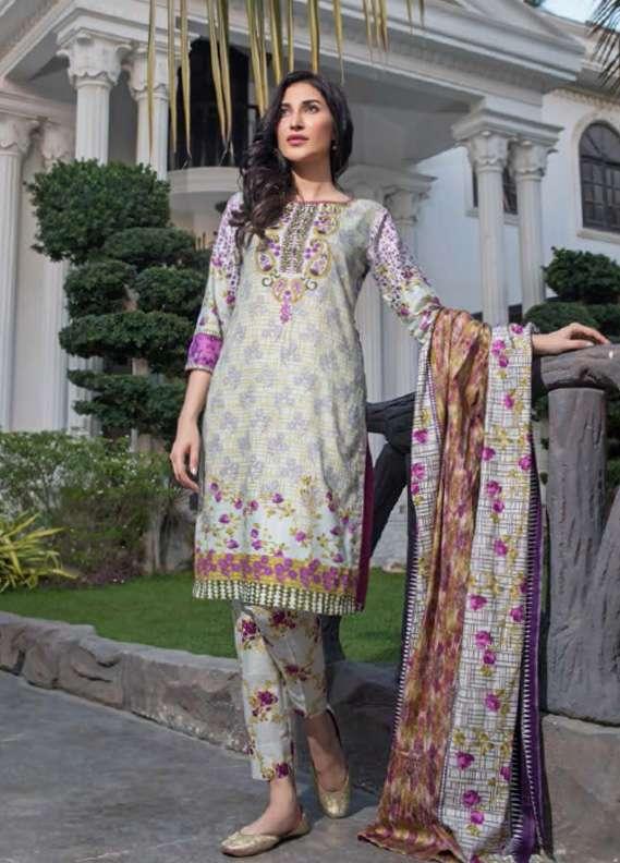 ZS Textile Printed Lawn Unstitched 3 Piece Suit RZS18L1 5A - Summer/Spring Collection