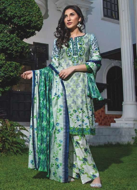 ZS Textile Printed Lawn Unstitched 3 Piece Suit RZS18L1 5B - Summer/Spring Collection