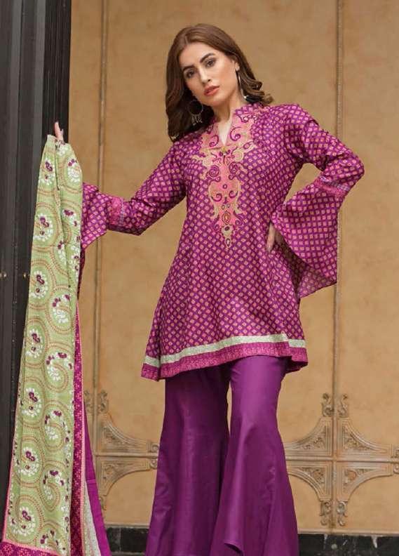 ZS Textile Printed Lawn Unstitched 3 Piece Suit RZS18L1 9A - Summer/Spring Collection