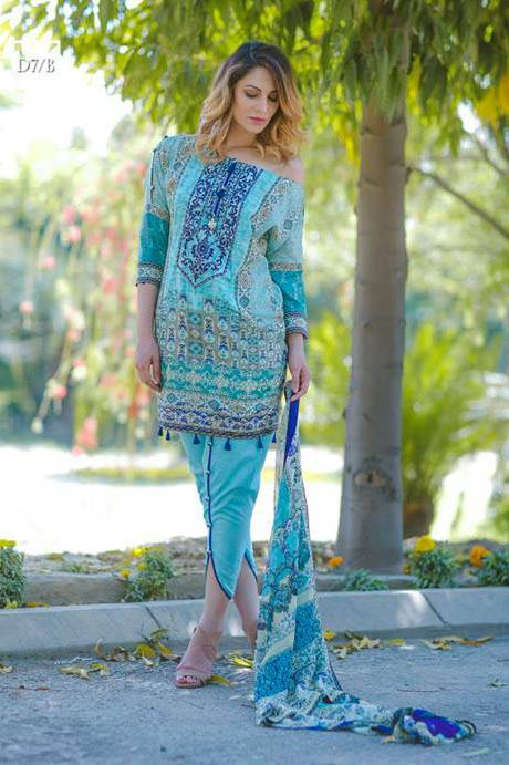 Noor by Saadia Asad Embroidered Lawn Unstitched 3 Piece Suit SA17L 7B
