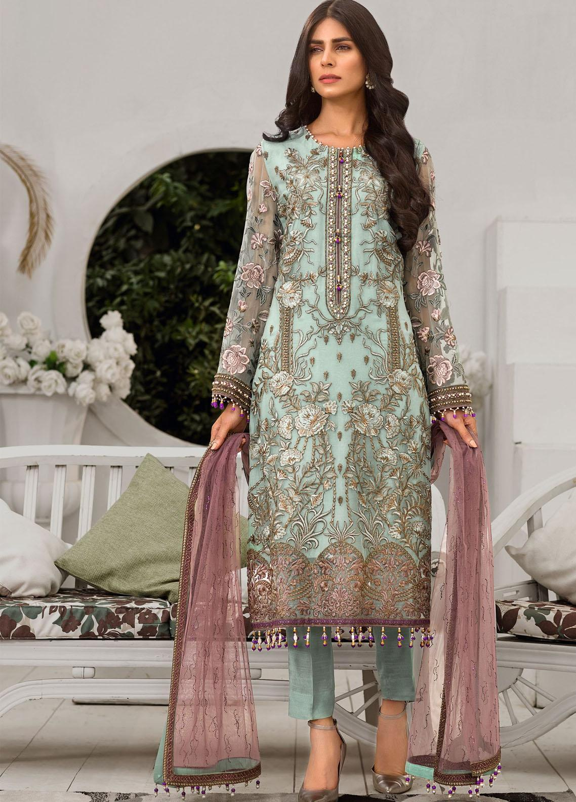 Safeera by Flossie Embroidered Chiffon Unstitched 3 Piece Suit FL20-SF6 01 Savidoria - Luxury Collection