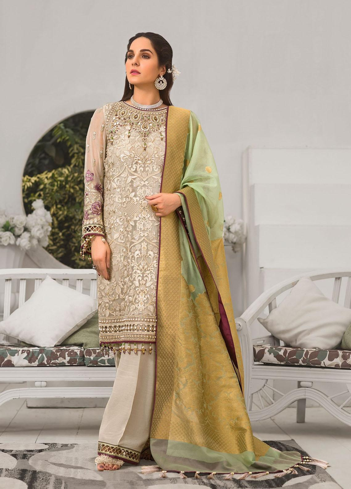 Safeera by Flossie Embroidered Chiffon Unstitched 3 Piece Suit FL20-SF6 02 Glimmer Blush - Luxury Collection