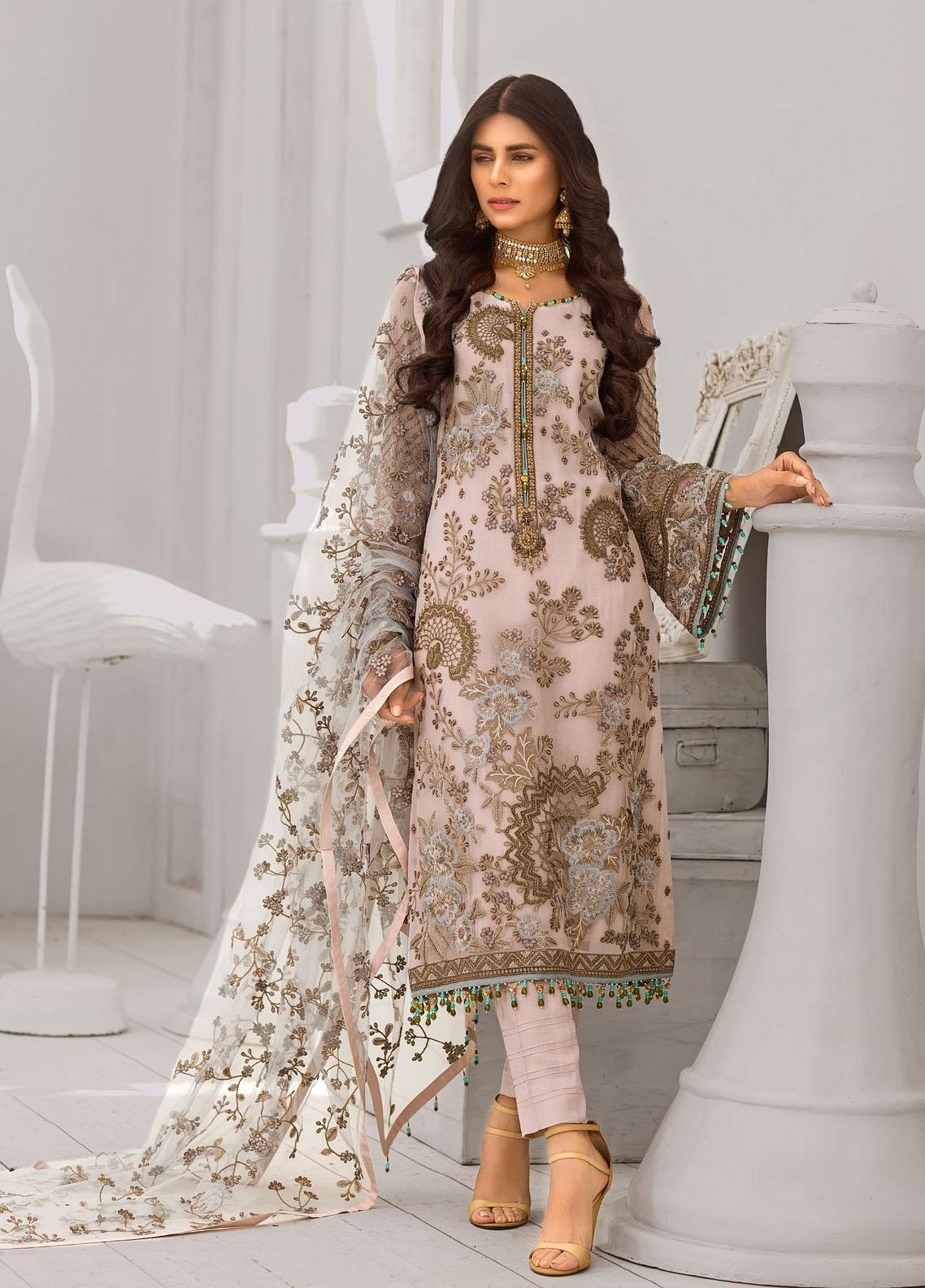 Safeera by Flossie Embroidered Chiffon Unstitched 3 Piece Suit FL20-SF6 06 Mink Blossom - Luxury Collection