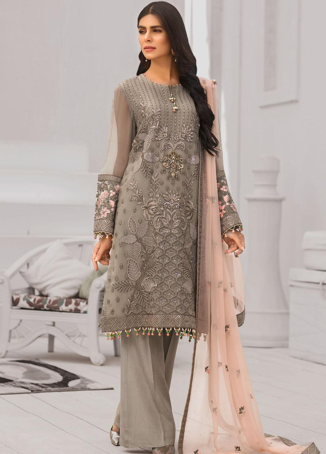 Safeera by Flossie Embroidered Chiffon Unstitched 3 Piece Suit FL20-SF6 09 Sublime Beige - Luxury Collection