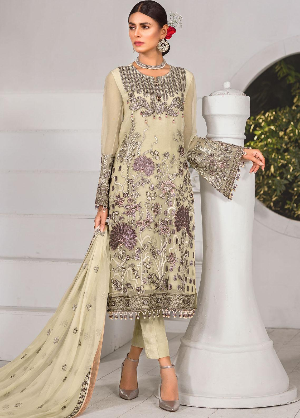 Safeera by Flossie Embroidered Chiffon Unstitched 3 Piece Suit FL20-SF6 10 Merlot Dream - Luxury Collection