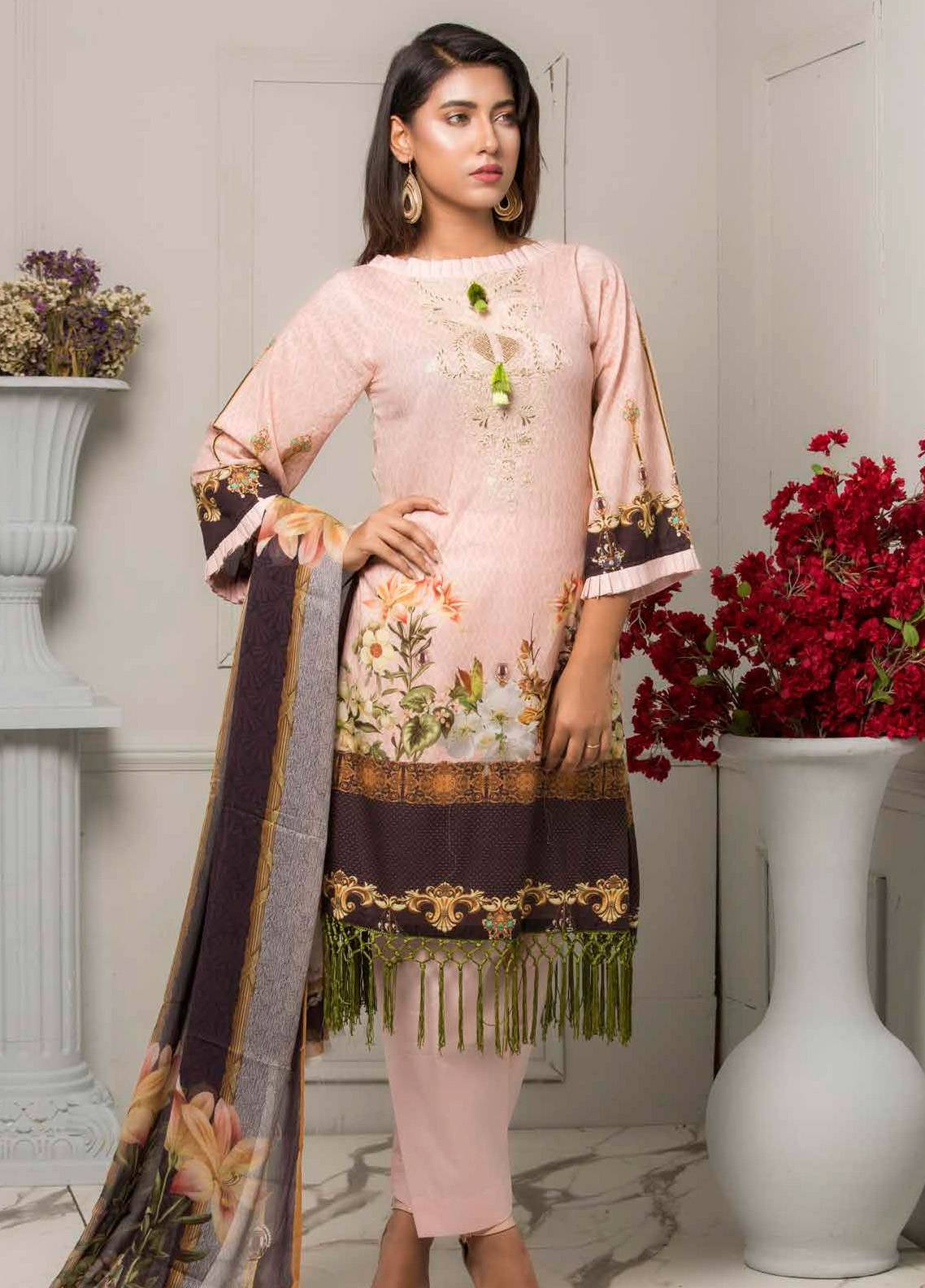 Salina by Regalia Textiles Embroidered Lawn Unstitched 3 Piece Suit SRG19F 02 - Festive Collection