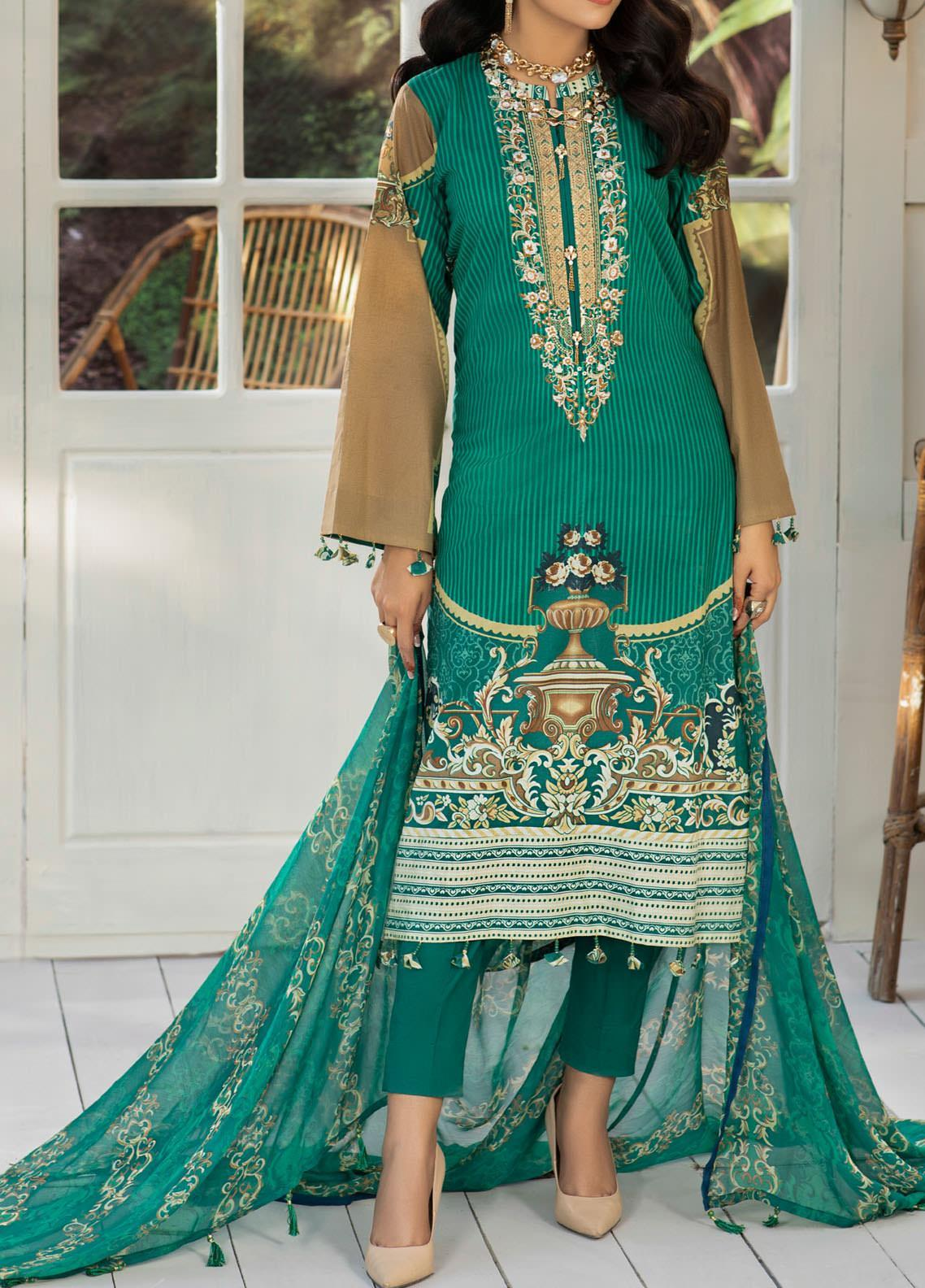 Salitex Embroidered Lawn Suits Unstitched 3 Piece ST21SK WK-00538-B - Summer Collection