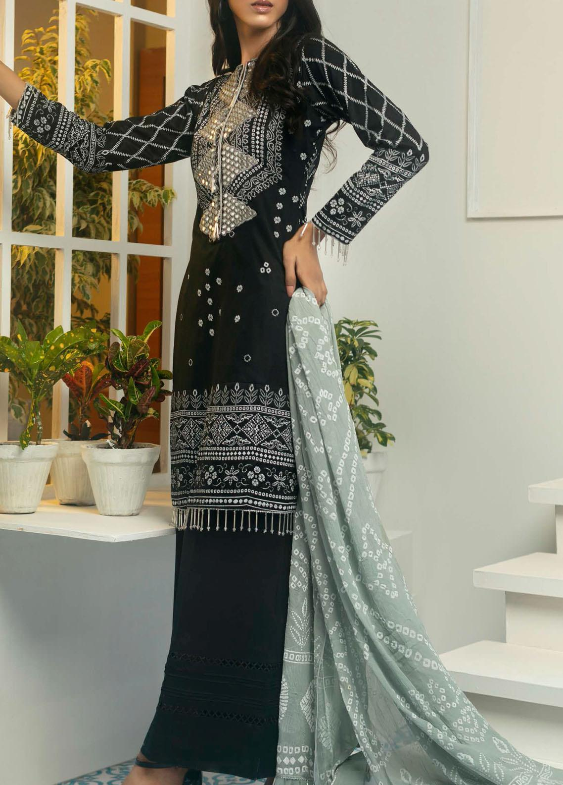 Samia by AB Textiles Printed Cotton Unstitched 3 Piece Suit AB20S 01 GRISE - Winter Collection