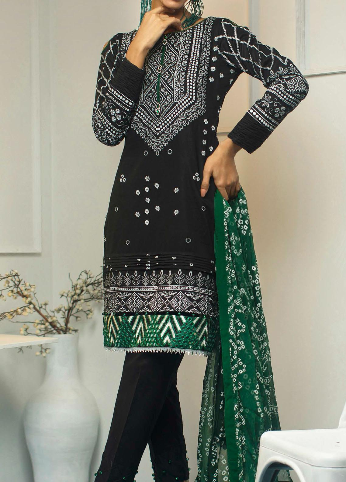 Samia by AB Textiles Printed Cotton Unstitched 3 Piece Suit AB20S 05 DARK VERT - Winter Collection