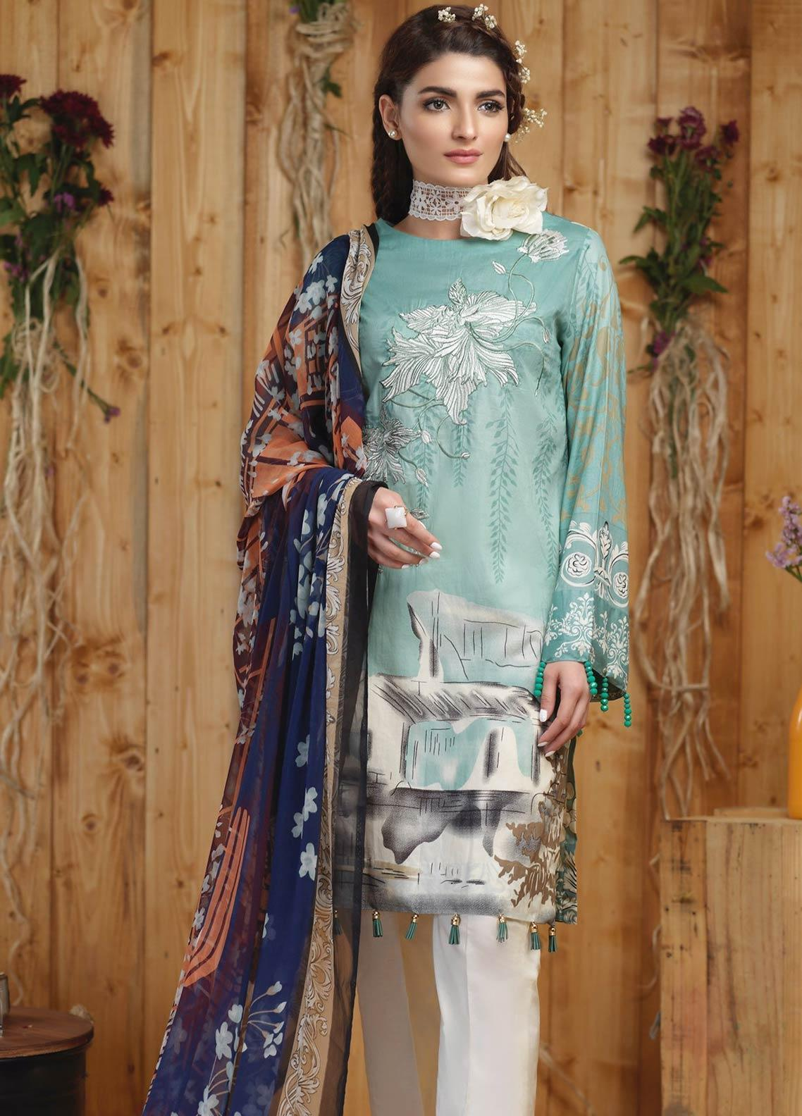 Sana & Sara Embroidered Lawn Unstitched 3 Piece Suit SLK19-L4 160A - Mid Summer Collection