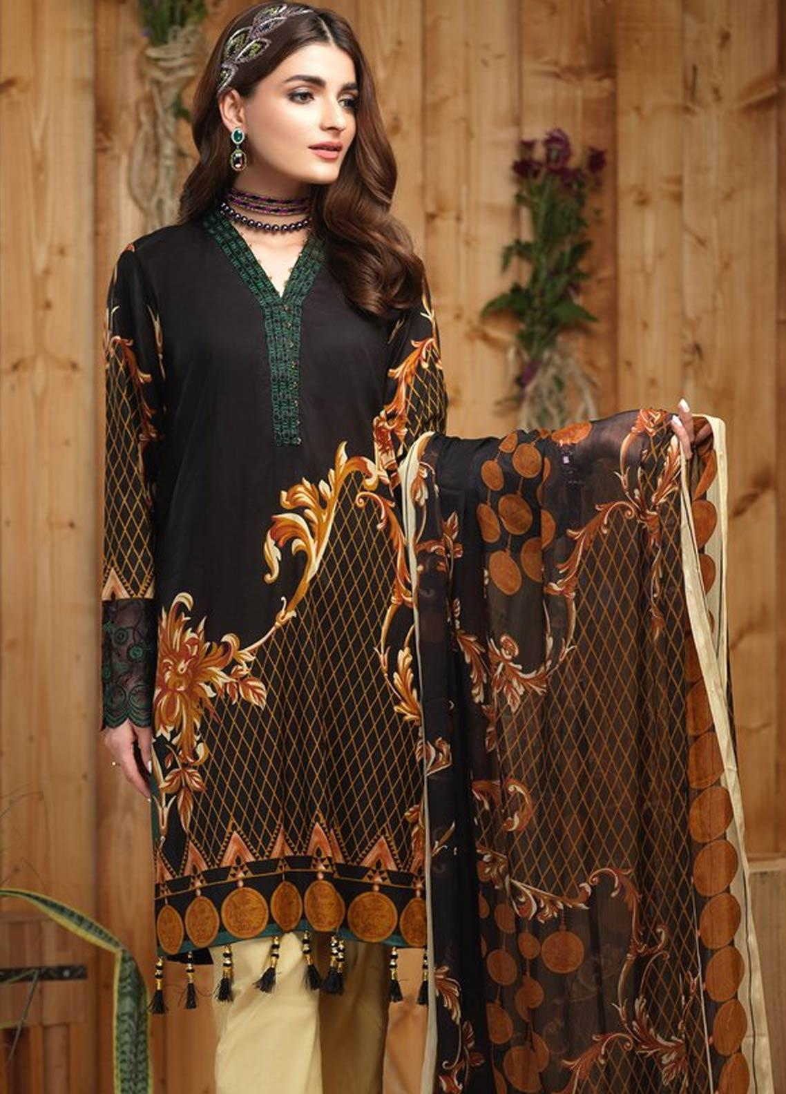 Sana & Sara Embroidered Lawn Unstitched 3 Piece Suit SLK19-L4 162A - Mid Summer Collection