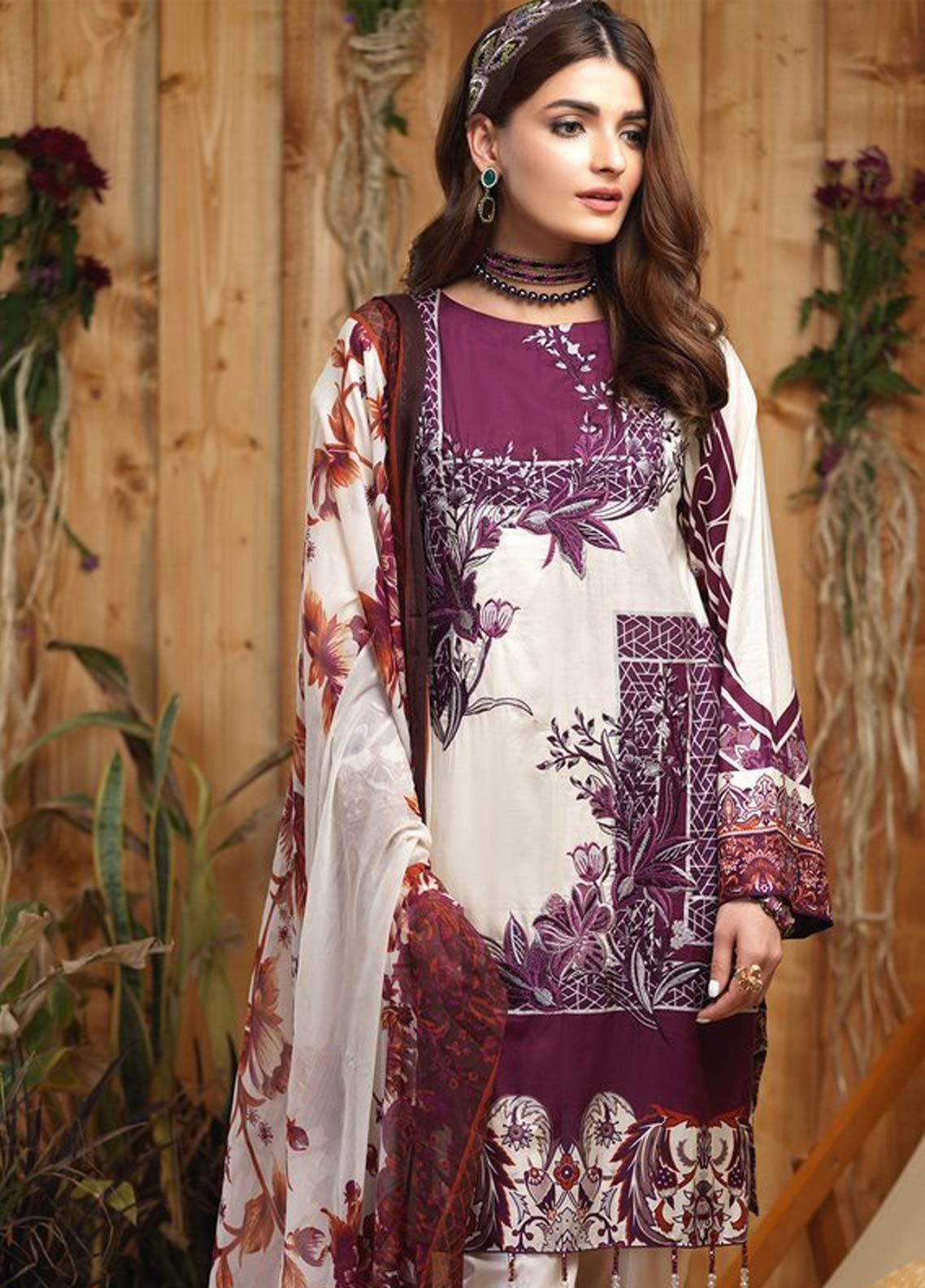 Sana & Sara Embroidered Lawn Unstitched 3 Piece Suit SLK19-L4 163A - Mid Summer Collection
