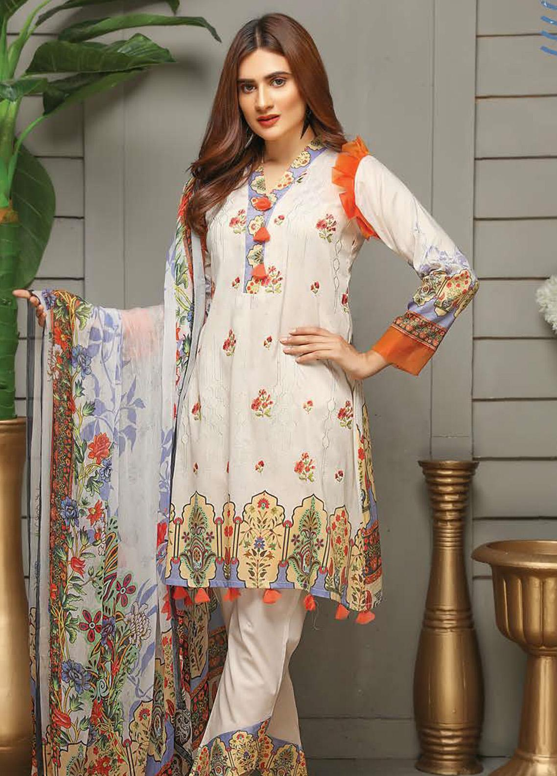 Sanam Saeed by Puri Fabrics Embroidered Lawn Unstitched 3 Piece Suit SS20PF 8 - Summer Collection