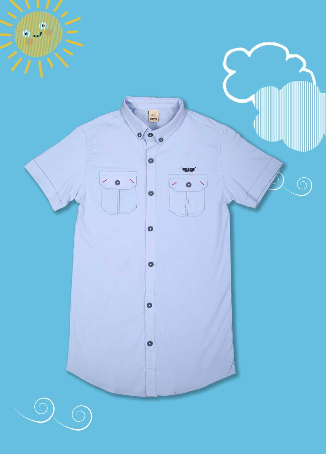Sanaulla Exclusive Range Cotton Casual Boys Shirts -  1013 Sky Blue