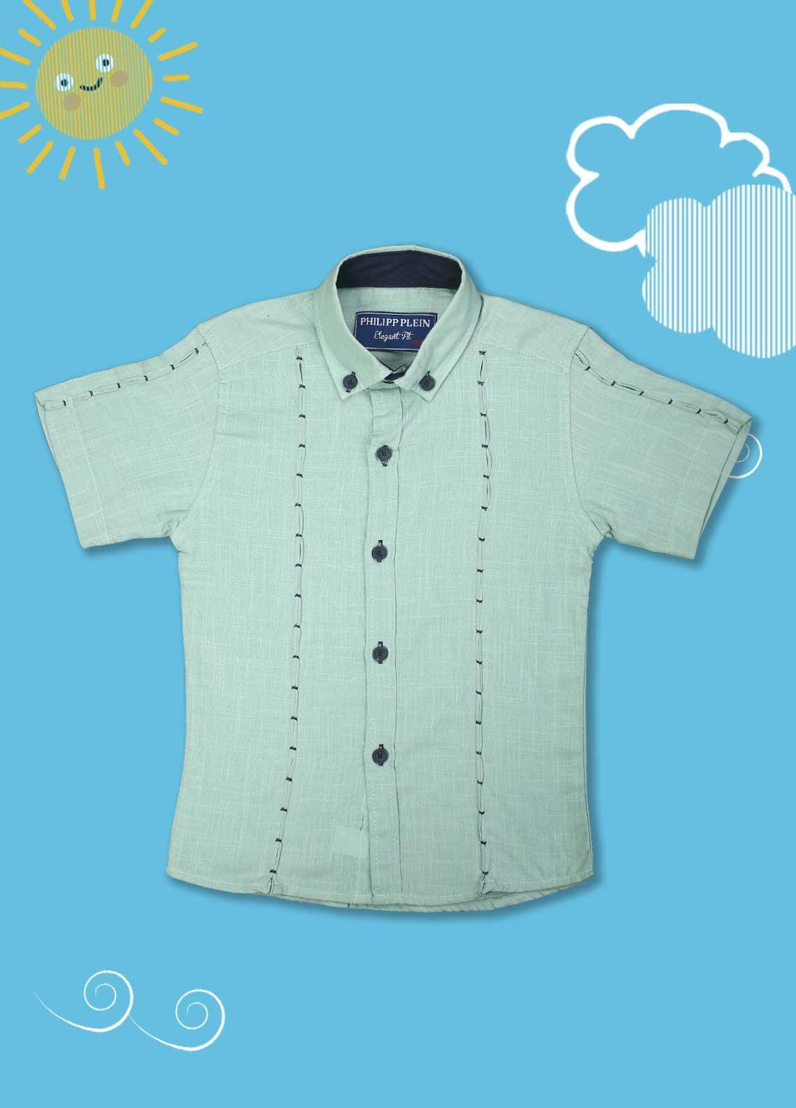 Sanaulla Exclusive Range Cotton Casual Boys Shirts -  2005 Green