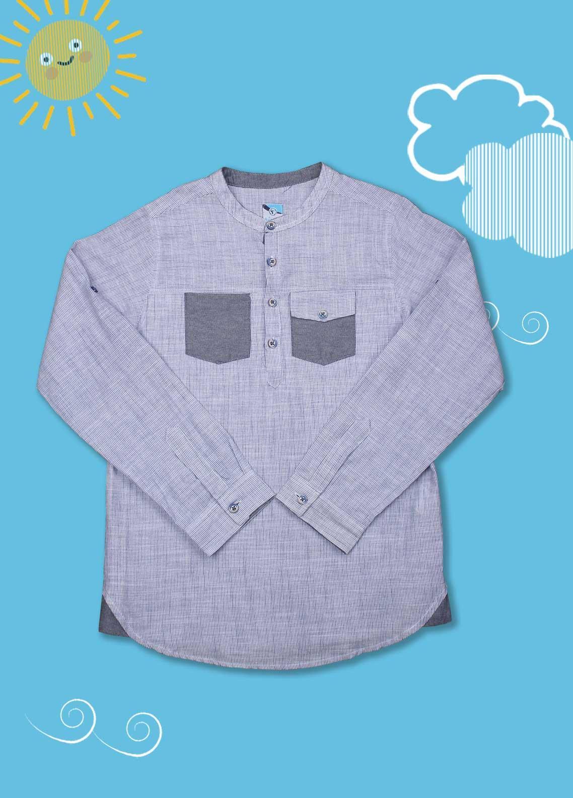 Sanaulla Exclusive Range Cotton Casual Shirts for Boys -  D-1014 Light Blue
