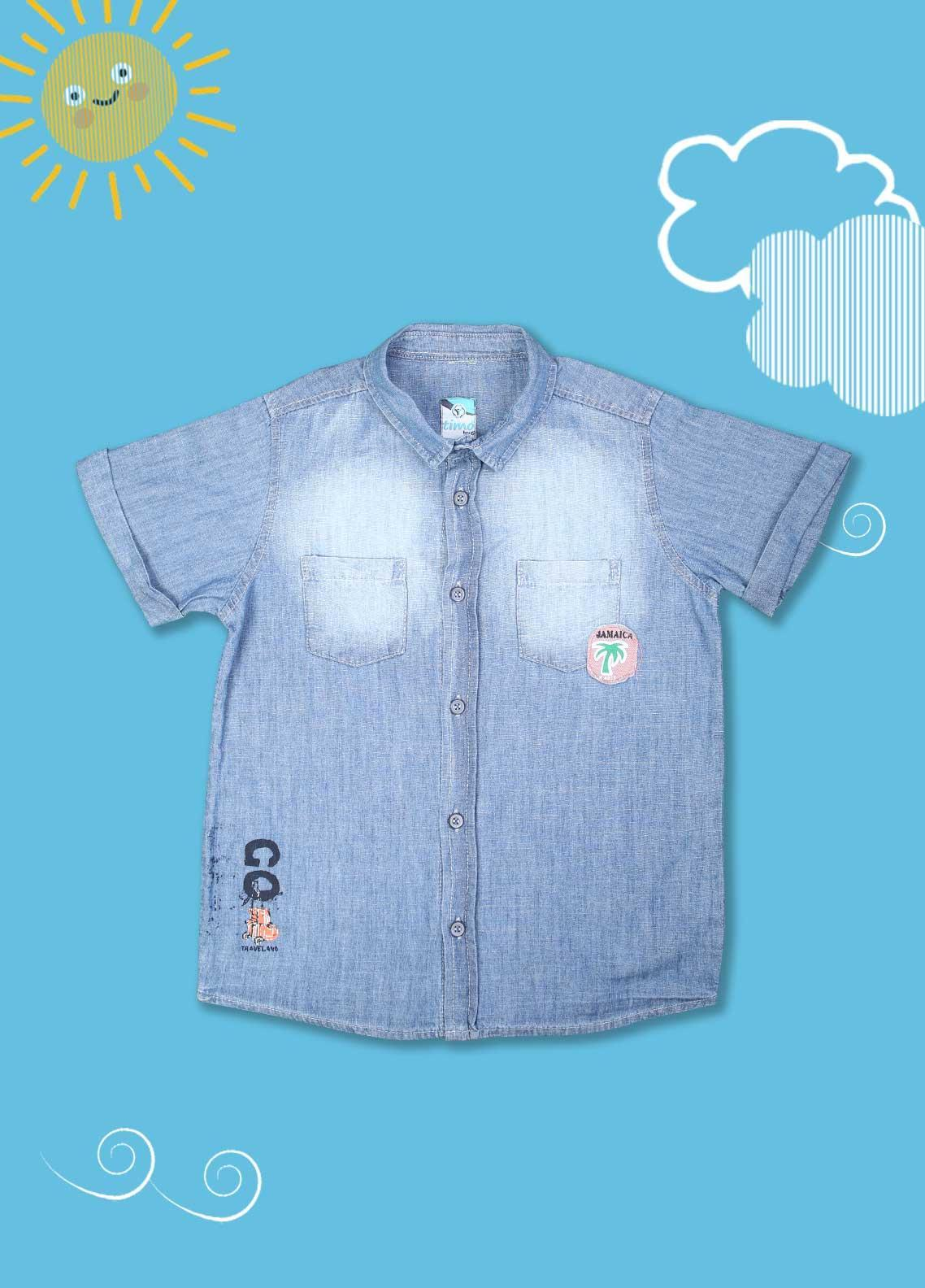 Sanaulla Exclusive Range Cotton Casual Boys Shirts -  D-503 Blue