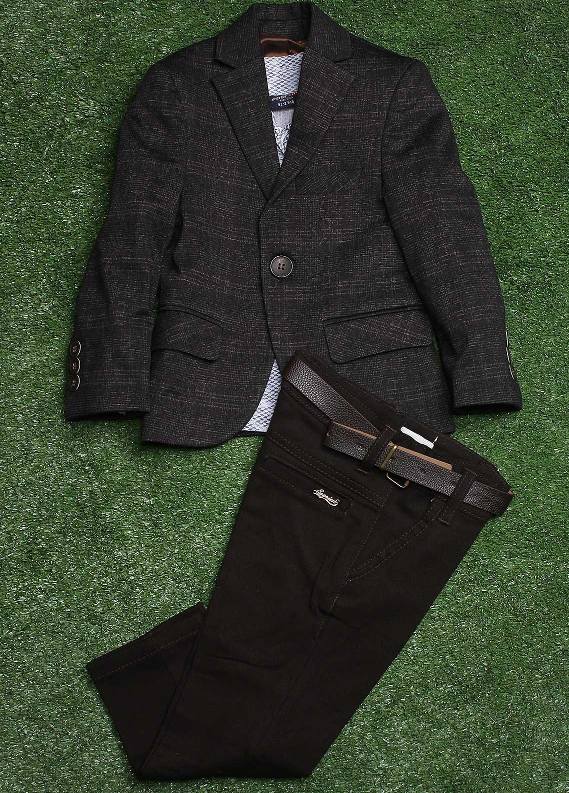 Sanaulla Exclusive Range  Casual Boys 3 Piece Suit -  007 Grey