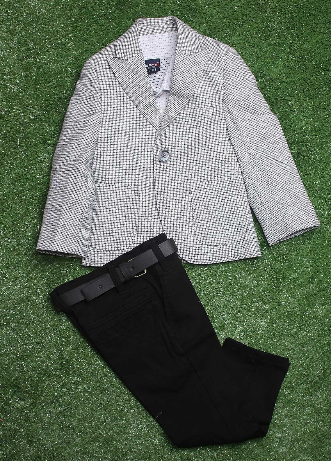 Sanaulla Exclusive Range  Casual 3 Piece Suit for Boys -  10 L-Grey