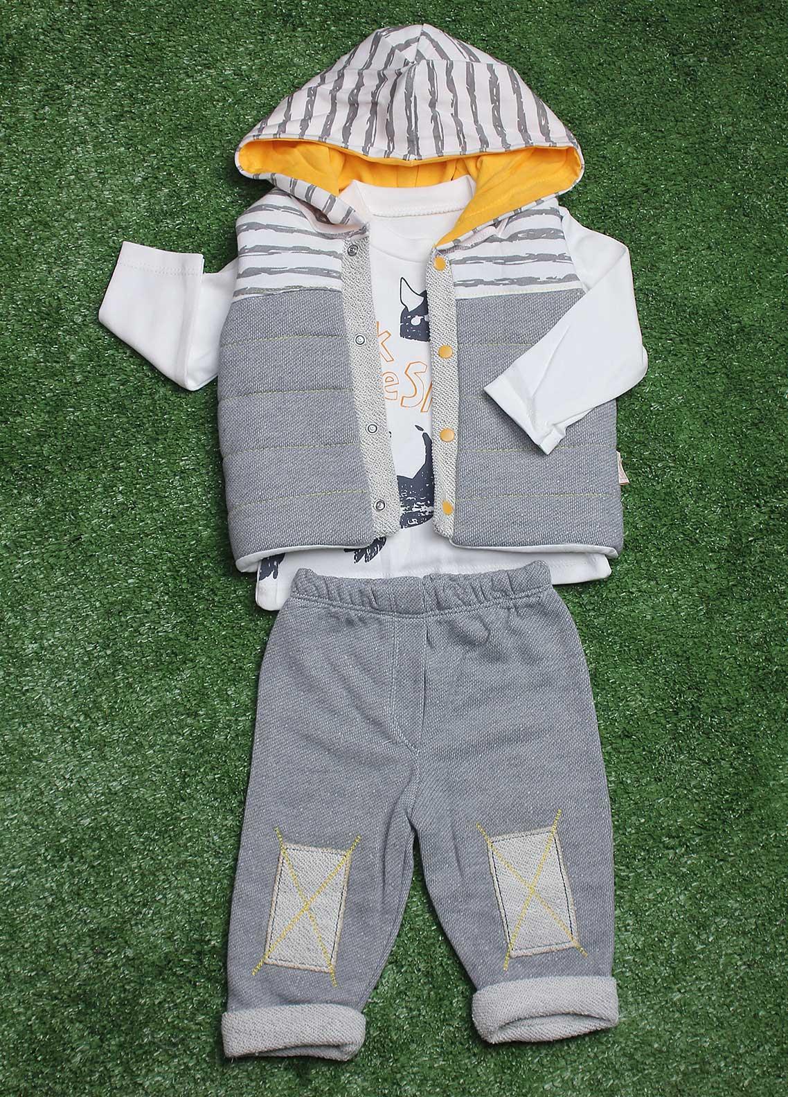 Sanaulla Exclusive Range  Fancy 3 Piece Suit for Boys -  5002 Grey