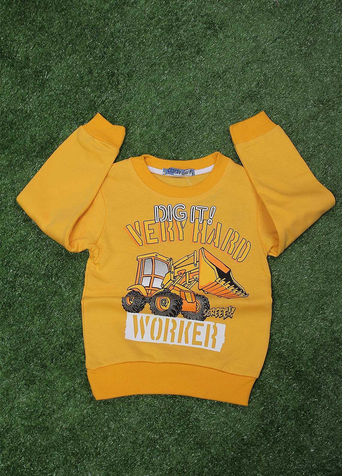 Sanaulla Exclusive Range  Fancy T-Shirt for Boys -  SU20BS 1031 Yellow