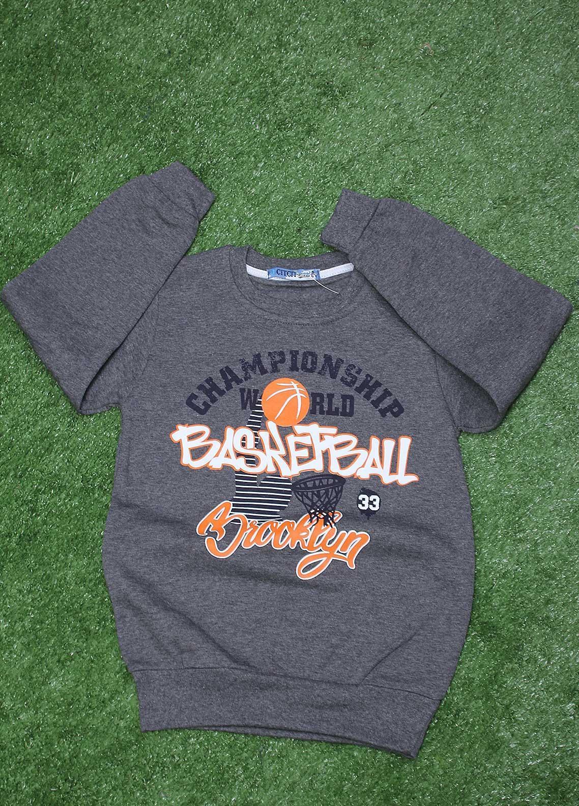 Sanaulla Exclusive Range  Fancy Boys T-Shirt -  SU20BS 1086 D-Grey