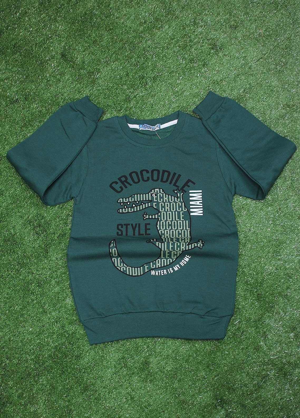 Sanaulla Exclusive Range  Fancy T-Shirt for Boys -  SU20BS 1086 Green