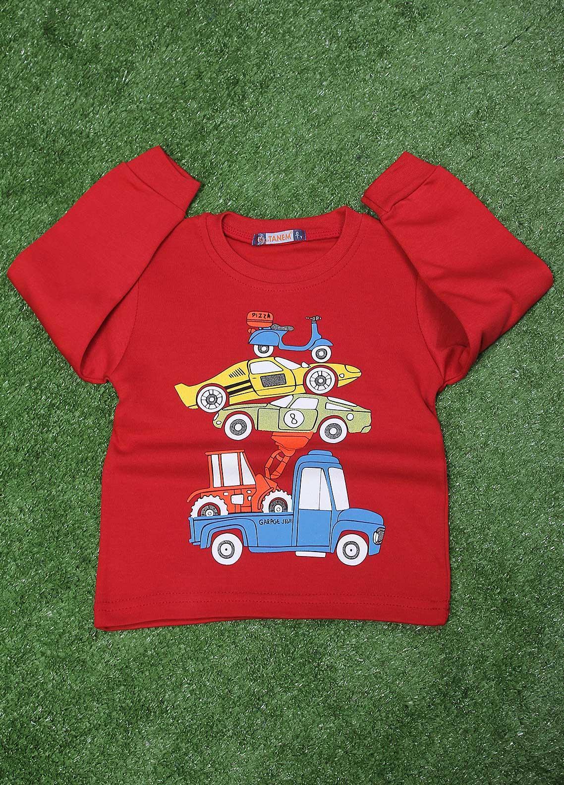 Sanaulla Exclusive Range  Fancy T-Shirt for Boys -  SU20BS 79 Red