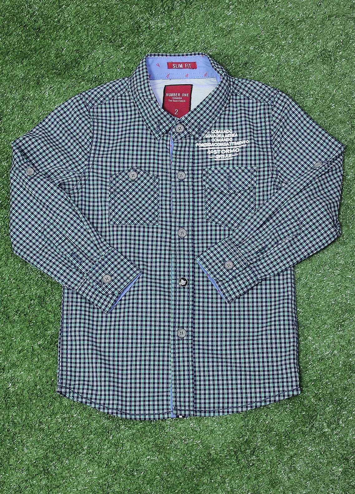 Sanaulla Exclusive Range  Fancy Shirt for Boys -  SU20BS SHC166S Ferozi