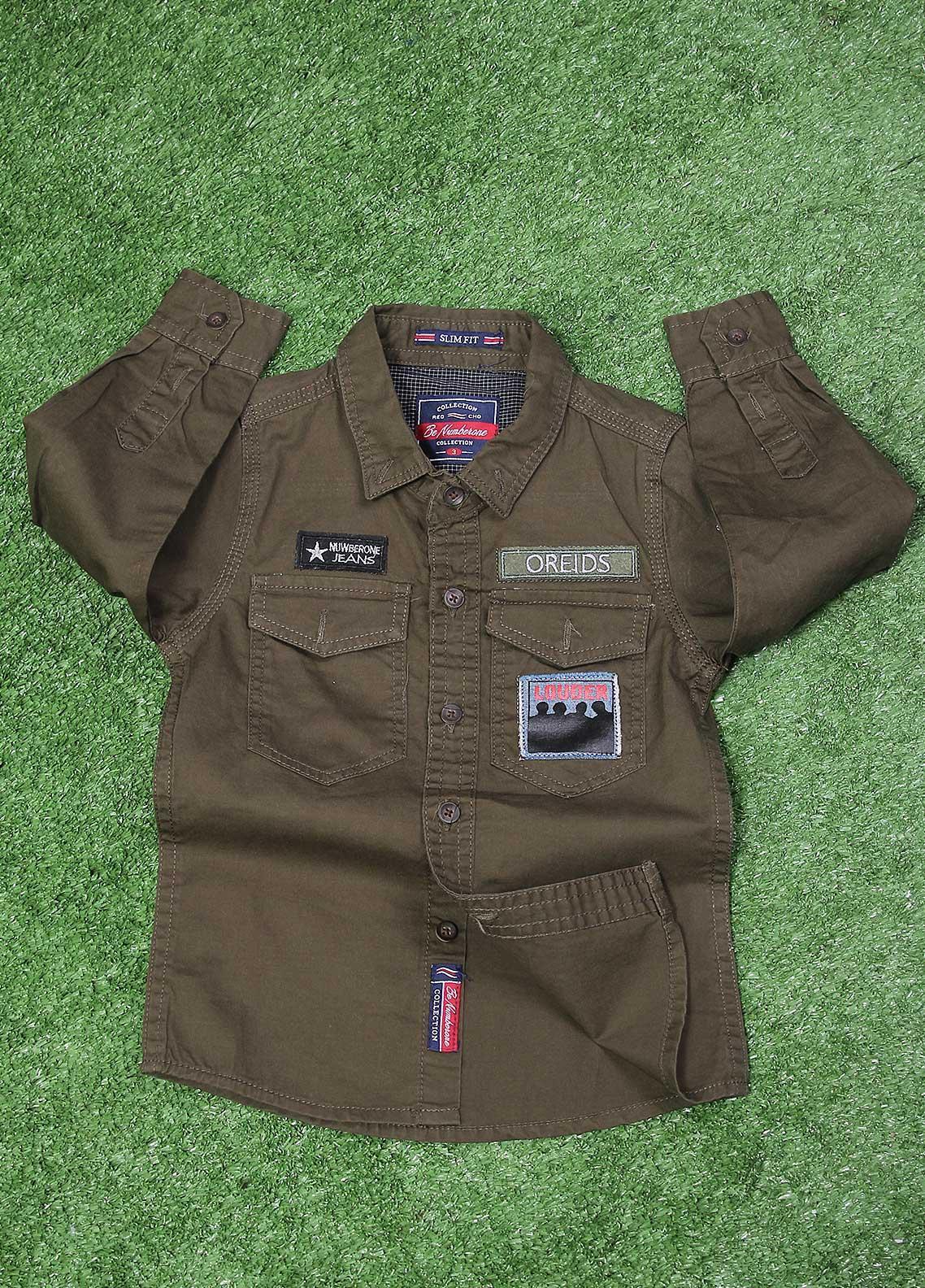Sanaulla Exclusive Range  Fancy Boys Shirt -  SU20BS SHC179S Green
