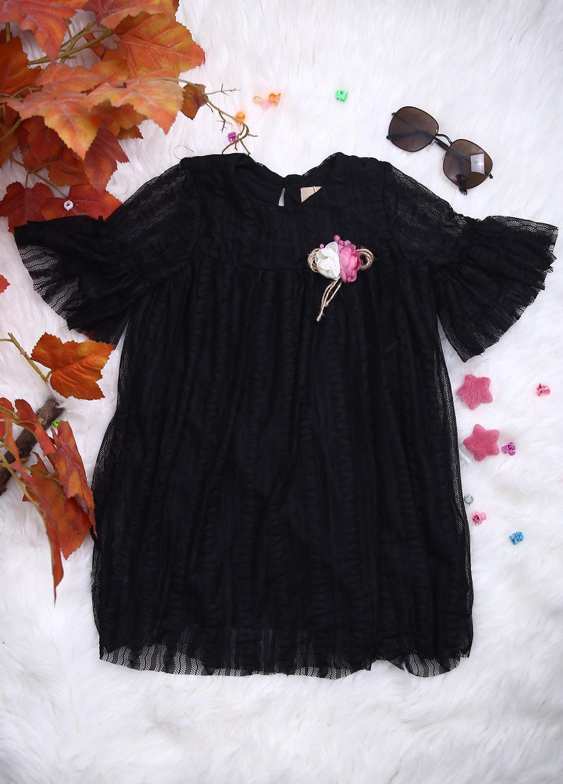 Sanaulla Exclusive Range Net Casual Girls Frocks -  112508 Black