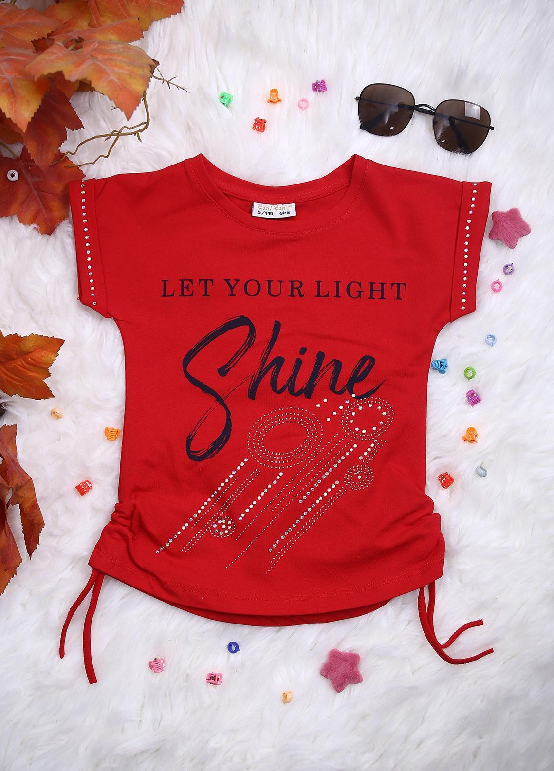 Sanaulla Exclusive Range Cotton Casual Girls T-Shirts -  113529 Red