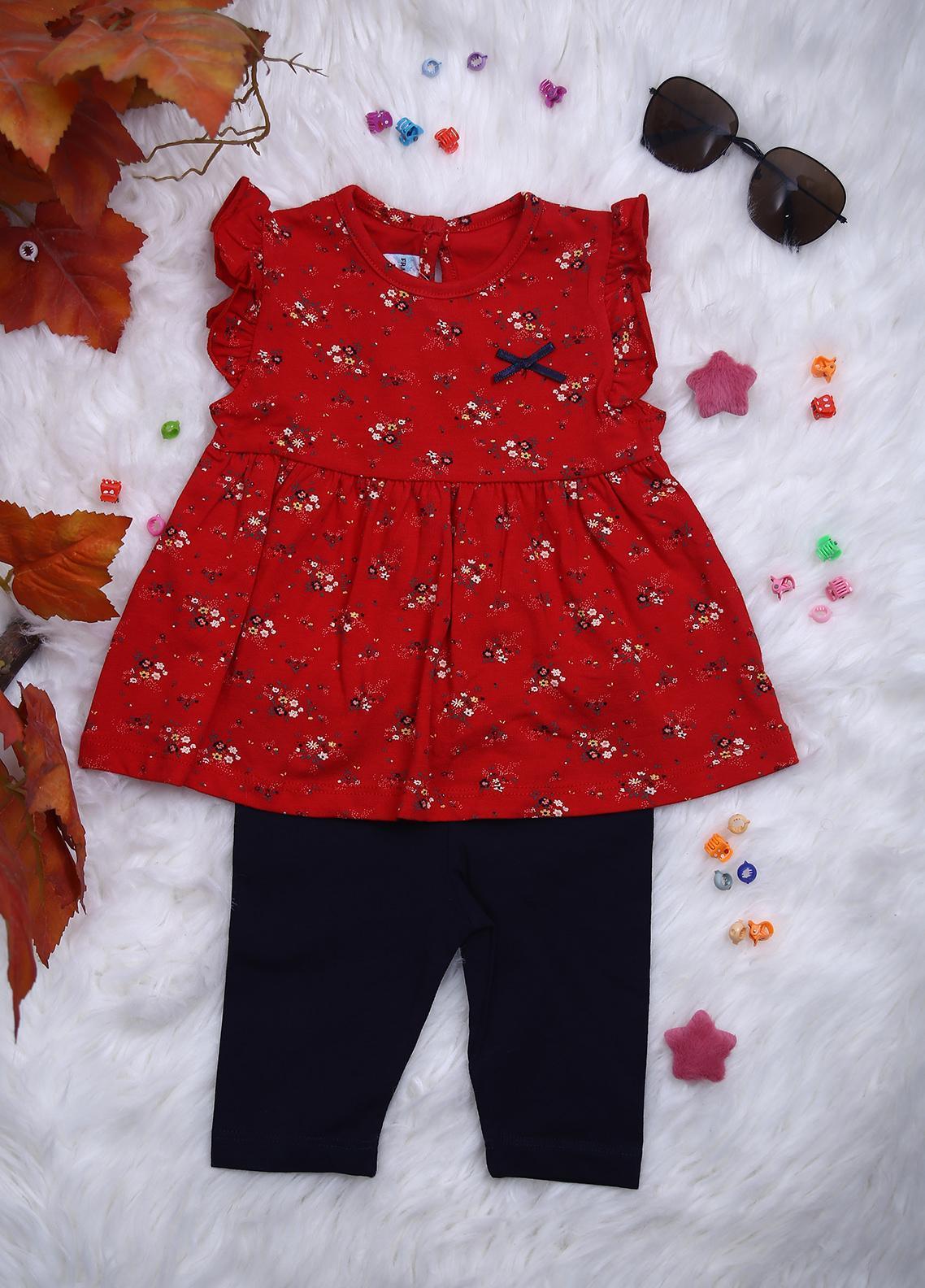 Sanaulla Exclusive Range Cotton Casual Girls 2 Piece -  114625 Red