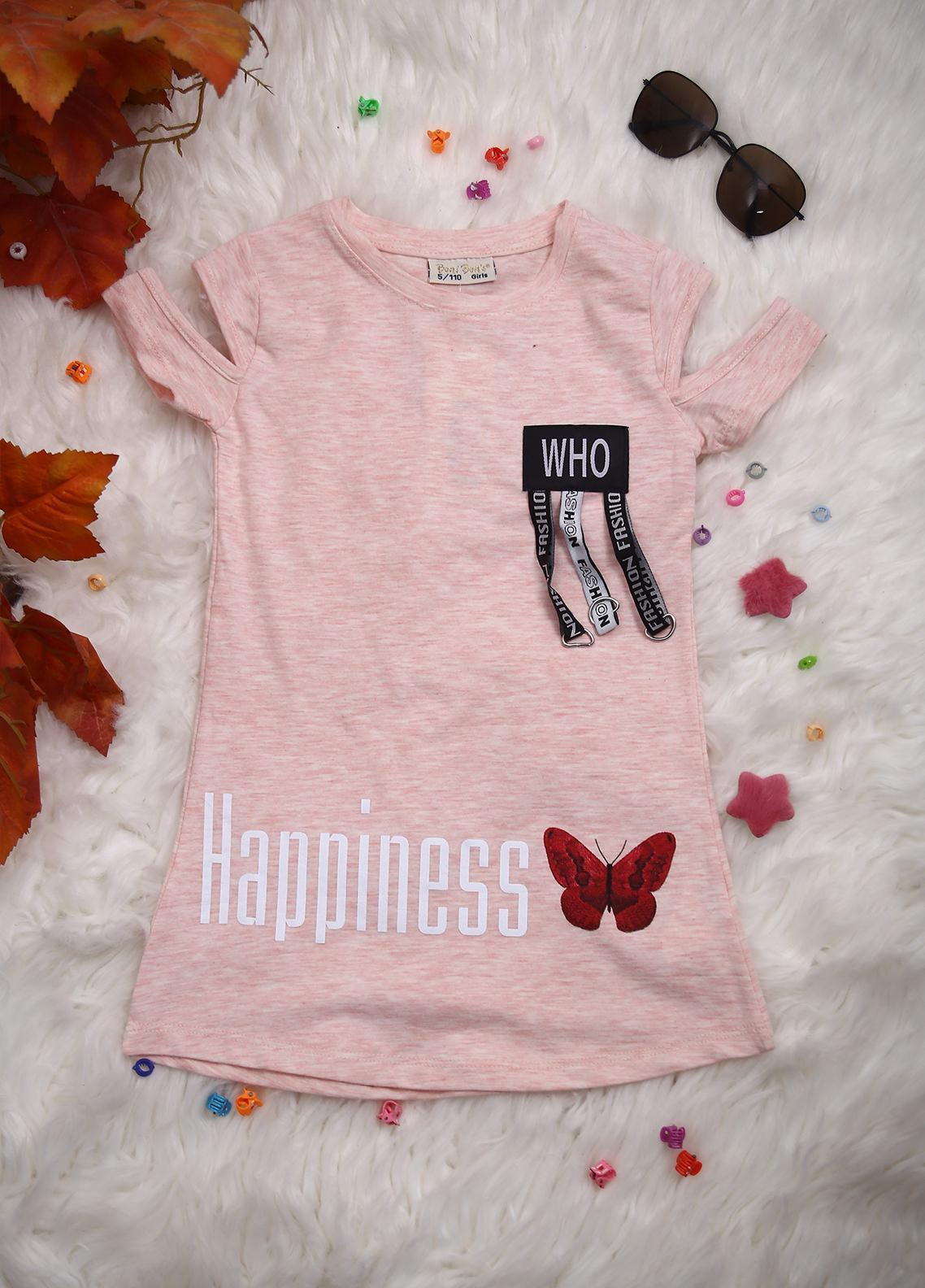 Sanaulla Exclusive Range Cotton Casual Girls T-Shirts -  D-2229 Light Pink