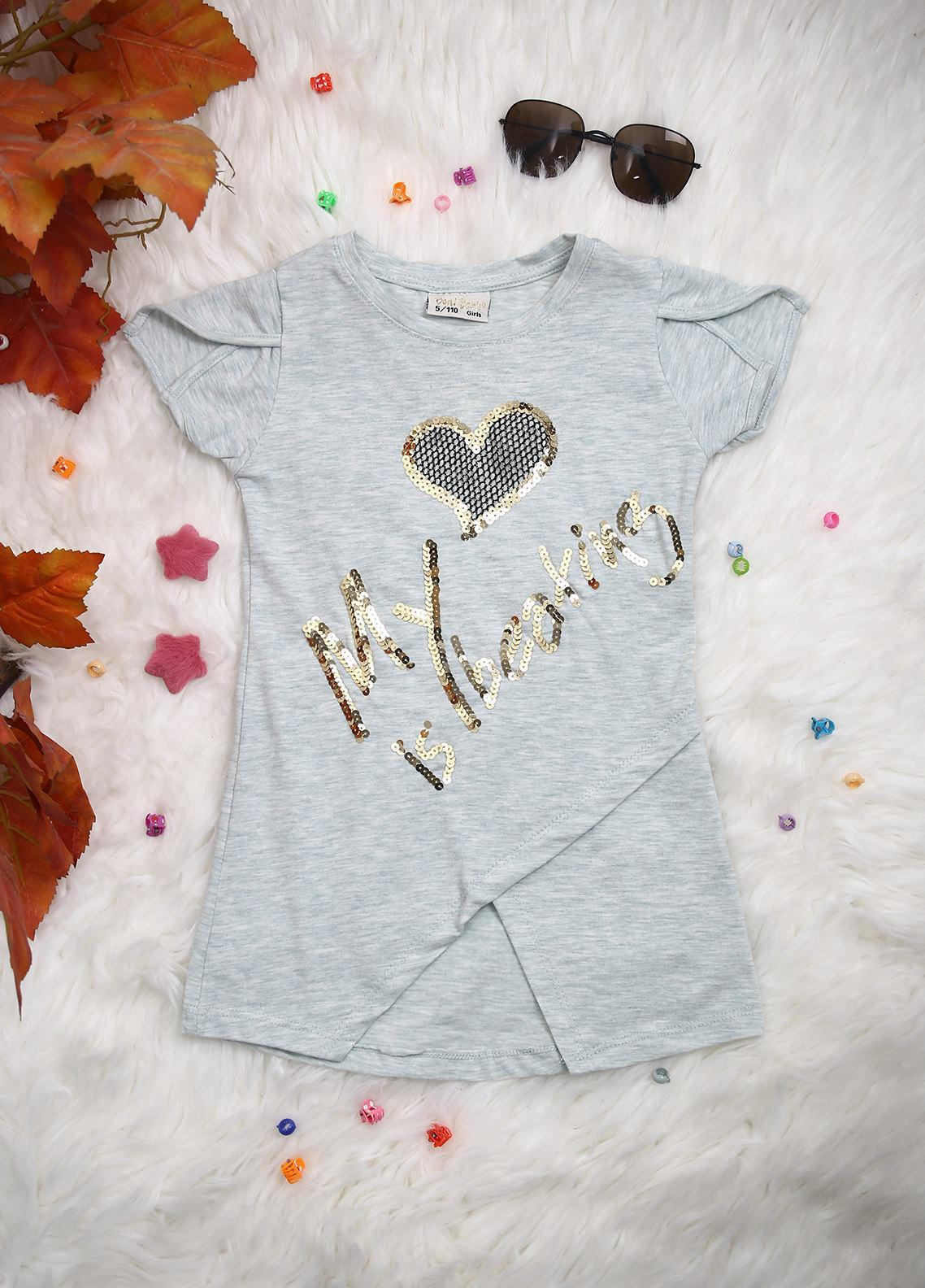 Sanaulla Exclusive Range Cotton Casual T-Shirts for Girls -  D-2244 Pista