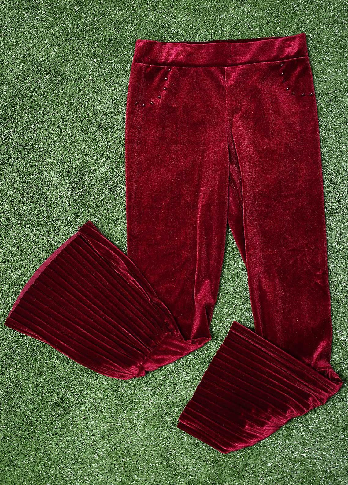 Sanaulla Exclusive Range Fancy Velvet Stitched Tights 3013 Maroon