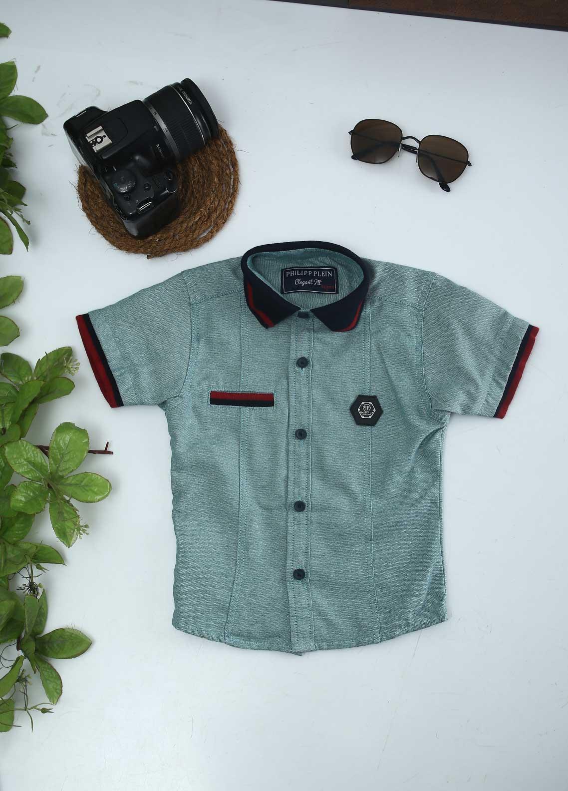 Sanaulla Exclusive Range Cotton Fancy Shirts for Boys -  51 Green