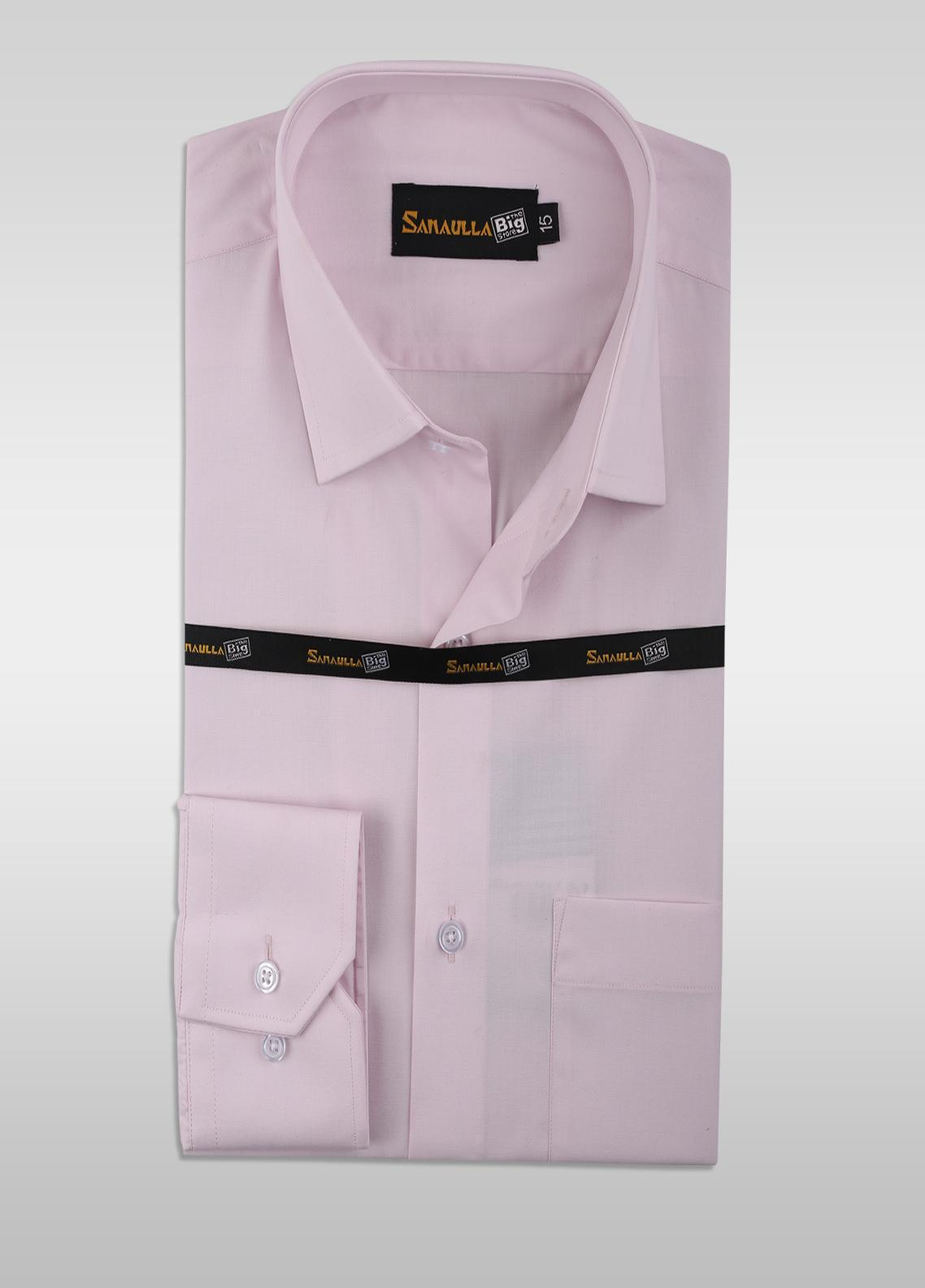 Sanaulla Exclusive Range Cotton Formal Shirts for Men -  SU21GR 09-L-Pink