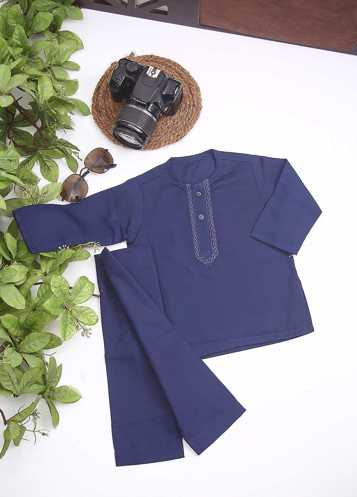 Sanaulla Exclusive Range Cotton Formal Kids Kurta Shalwar -  C-758 Blue