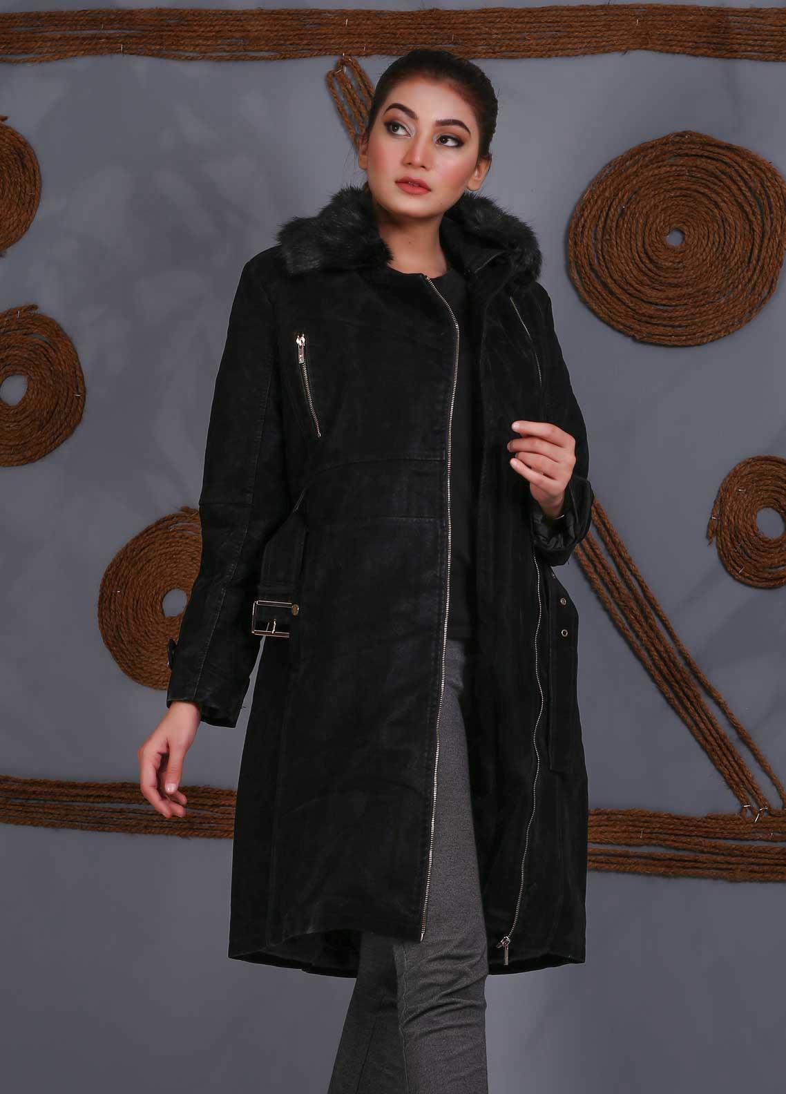 Sanaulla Exclusive Range Velvet Full Sleeves Long Jackets for Women -  SU20J Coat 5465 Black