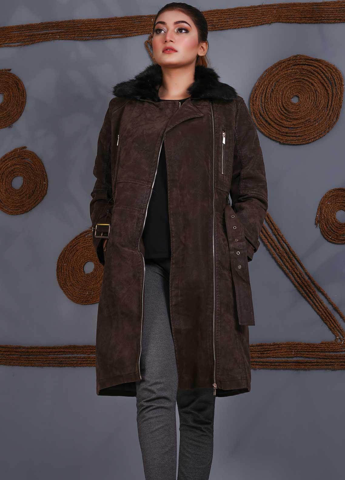 Sanaulla Exclusive Range Velvet Full Sleeves Women Long Jackets -  SU20J Coat 5465 Brown