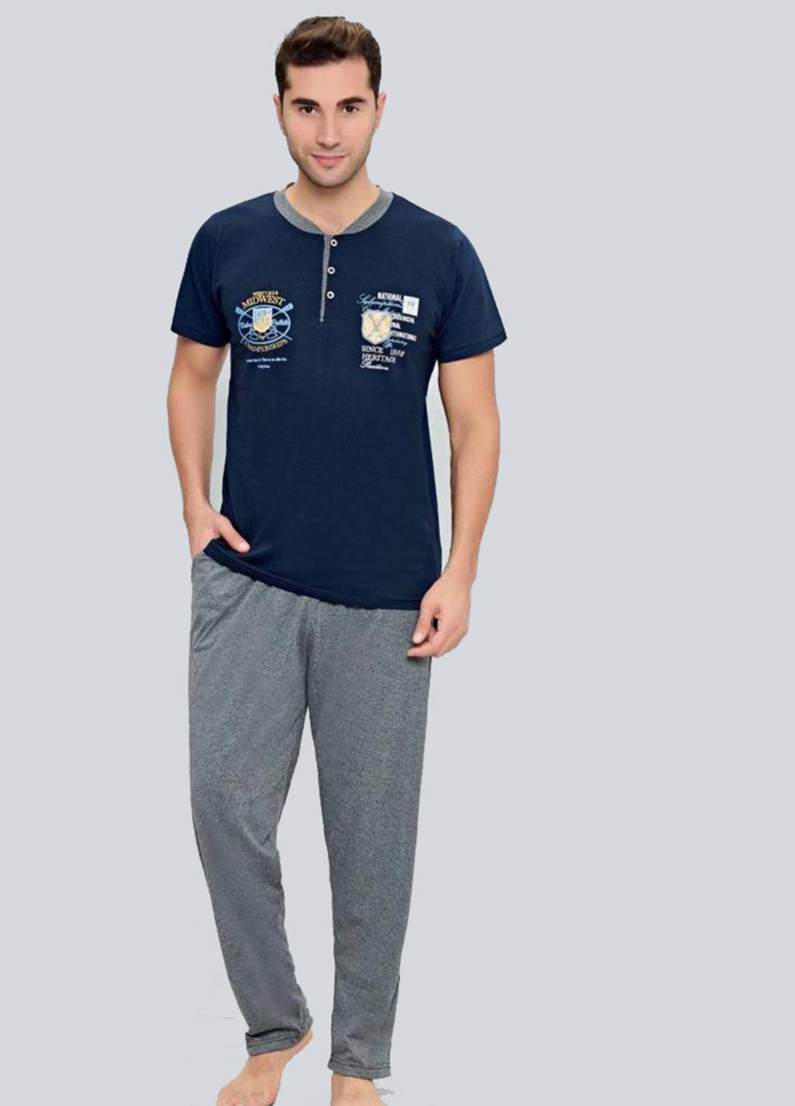 Cotton 2 Piece for Men Home Wear SU21MH D-11 Blue